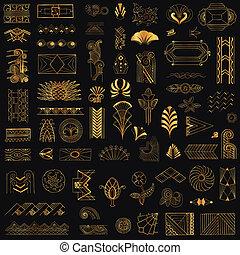 deco, arte, vindima, -, mão, vetorial, desenho, bordas, ...