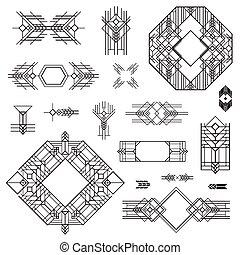 deco, arte, vindima, -, mão, vetorial, desenho, bordas, desenhado, elementos