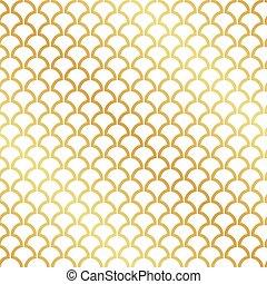 deco, blad, guld, mönster, abstrakt, seamless, konst