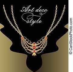 deco de arte, collar, con, dorado, colgante, en, doble, cadena, rojo, corte, piedra preciosa, adornado, joya, retro, estilo victoriano
