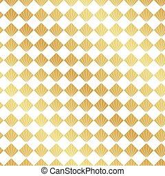 deco, konst, guld, mönster, seamless, fan, bakgrund