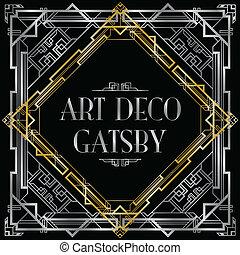 deco, kunst, gatsby, achtergrond