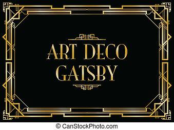 deco, kunst, gatsby, hintergrund