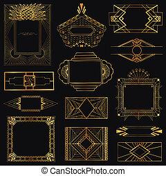 deco, művészet, szüret, -, kéz, vektor, tervezés, keret, húzott, alapismeretek