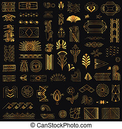 deco, művészet, szüret, -, kéz, vektor, tervezés, keret, ...