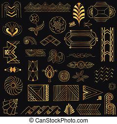 deco, sztuka, rocznik wina, -, ręka, wektor, projektować, układa, pociągnięty, elementy