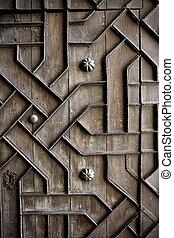 deco, viejo, de madera, handcraft, hierro, puerta, viejo