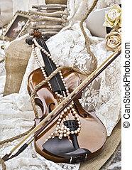 deco, vindima, sepia, -, casório, violino
