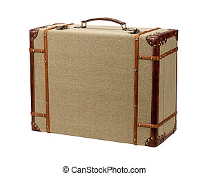 Deco Wood Burlap Suitcase with clipping path