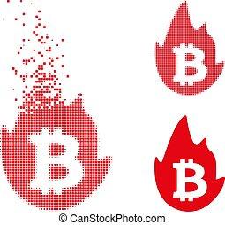decomposed, bitcoin, halftone, chaud, point, icône