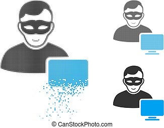 Decomposed Dot Halftone Computer Hacker Icon with Face