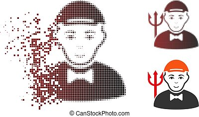 Decomposed Dot Halftone Daemon Icon - Daemon icon with face...