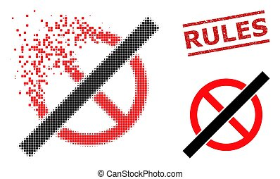 Decomposed Dot No Rules Icon and Grunge Rules Seal