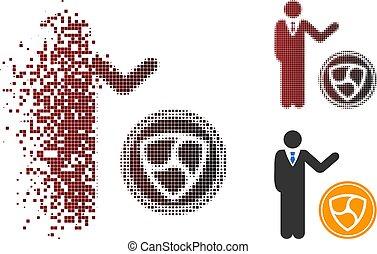 Decomposed Dotted Halftone Businessman Show NEM Coin Icon