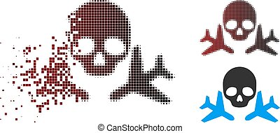 Decomposed Dotted Halftone Mortal Airplanes Icon - Mortal...