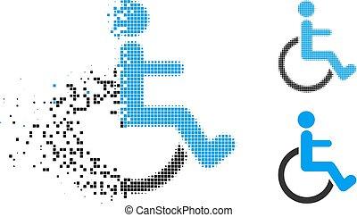 decomposed, halftone, incapacitado, pessoa, ponto, ícone