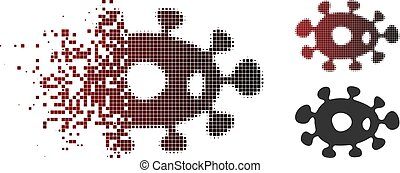 Decomposed Pixel Halftone Bacteria Icon