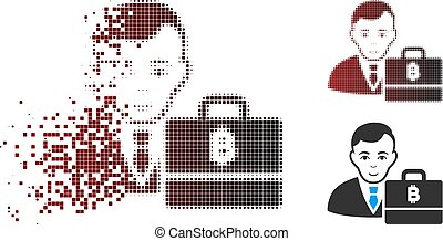 Decomposed Pixel Halftone Baht Accounter Icon - Vector baht...