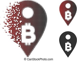 Decomposed Pixel Halftone Bitcoin Map Marker Icon