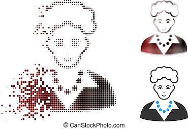 Decomposed Pixel Halftone Blonde Lady Icon
