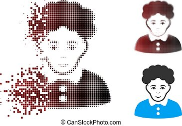 Decomposed Pixel Halftone Brunette Woman Icon