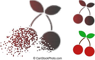 Decomposed Pixel Halftone Cherry Icon