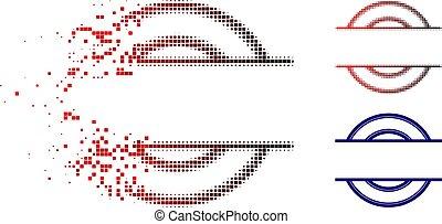 Decomposed Pixel Halftone Circle Stamp Frame Icon