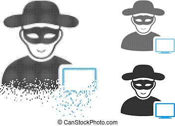 Decomposed Pixel Halftone Computer Hacker Icon with Face