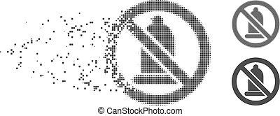 Decomposed Pixel Halftone Condom Forbidden Icon