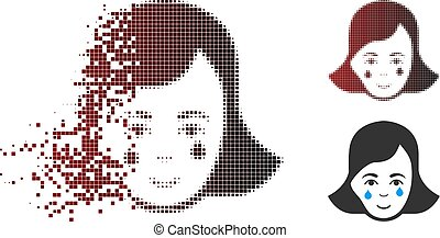 Decomposed Pixel Halftone Crying Woman Face Icon