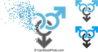 Decomposed Pixel Halftone Group Gay Sex Icon - Group gay sex...