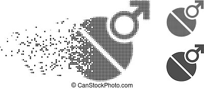 Decomposed Pixel Halftone Male Erection Tablet Icon - Grey...
