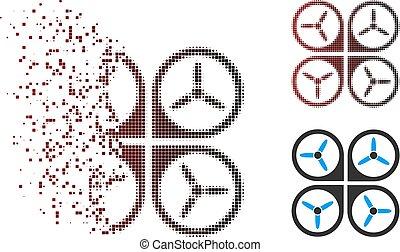 Decomposed Pixel Halftone Quadrotor Icon - Vector quadrotor...