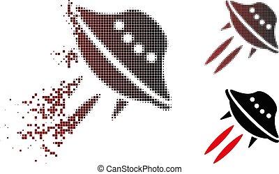 Decomposed Pixel Halftone UFO Start Icon