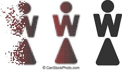 Decomposed Pixel Halftone Woman Icon