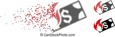 Decomposed Pixelated Halftone Burn Dollar Icon - Burn dollar...