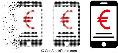 Decomposed Pixelated Halftone Euro Mobile Payment Icon