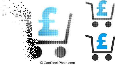 Decomposed Pixelated Halftone Pound Checkout Icon