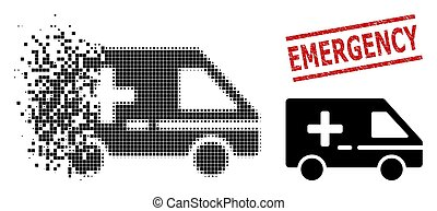 Decomposed Pixelated Medical Emergency Car Icon and Textured Emergency Stamp