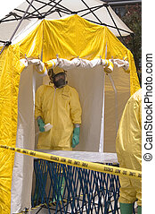 Decon-shower crew - A hazmat crew member awaiting a victim...
