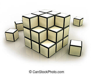 Deconstructed Rubik's Cube.