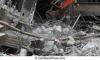 Deconstruction site excavators with sound