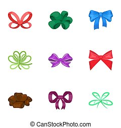 Decor, bows, node, and other web icon in cartoon style. Bow, ribbon, decoration, icons in set collection.
