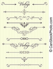 decor, elementer, konstruktion, side, calligraphic
