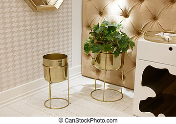 Decor elements in the bedroom. Two golden flower bowls, one houseplant growing.