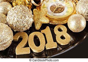 decor, goud, themed, jaren, 2018, nieuw, getallen