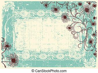 decor, grunge, ouderwetse , frame, achtergrond, tekst, floral