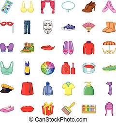 Decor icons set, cartoon style
