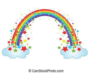 decor, met, regenboog