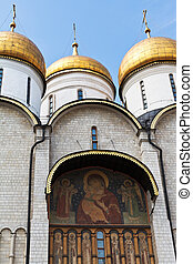 decor of Dormition Cathedral in Moscow Kremlin